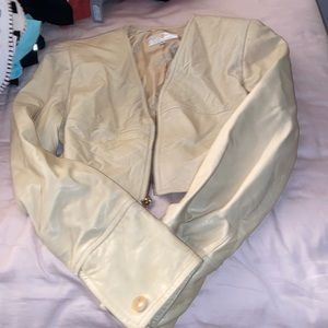FCF leather jacket butter yellow vintage 80s S